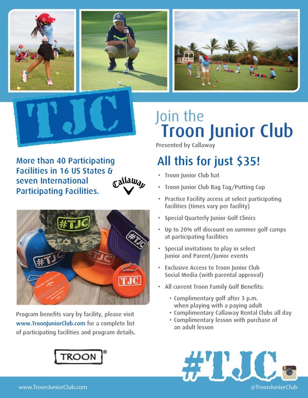Flyer for the Troon Junior Club at Mansion Ridge